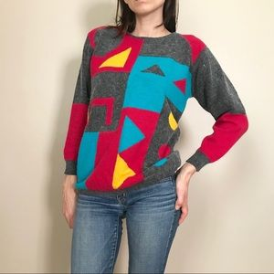 Vintage 90s Bold Graphic Lambswool Angora Sweater